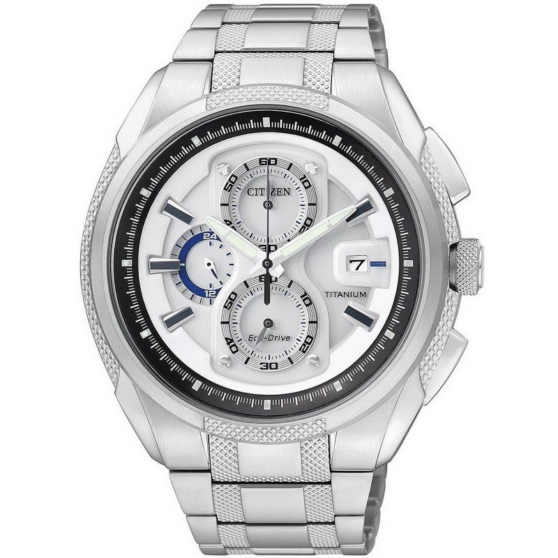 90942f30a Citizen Men's Watch Super Titanium Chrono Eco-Drive CA0200-54B