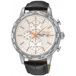 Seiko Men's Watch SPL053P1 World Time Chronograph Alarm Quartz